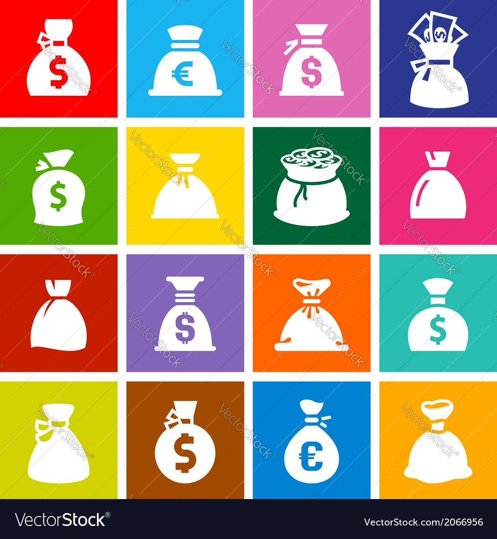 Money bags set icons on colored squares vector | Price: 1 Credit (USD $1)