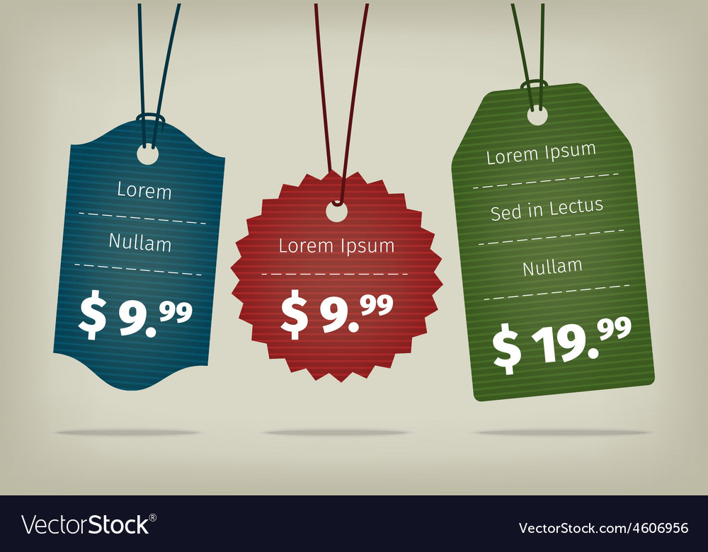 Realistic eps10 hanging cardboard pricing vector | Price: 1 Credit (USD $1)