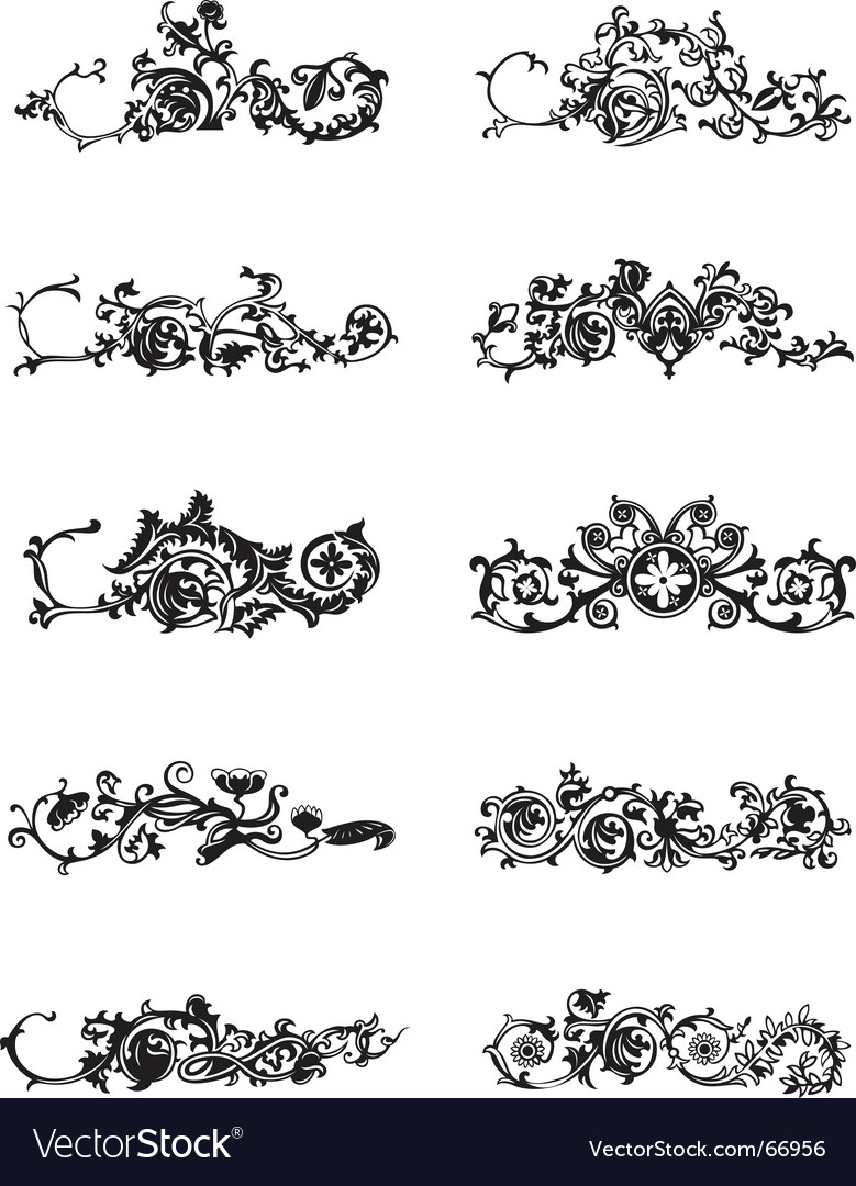 Set of black decorative elements vector | Price: 1 Credit (USD $1)
