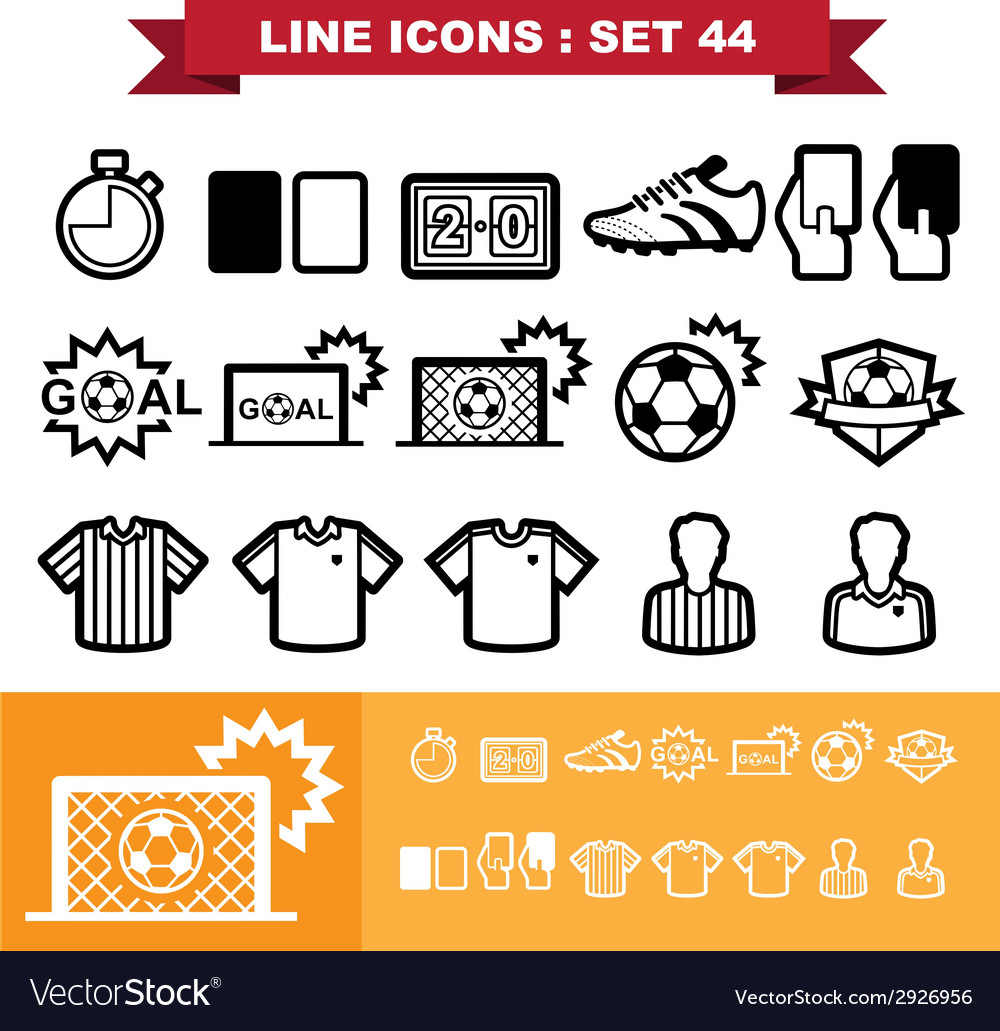 Soccer football line icons set 44 vector | Price: 1 Credit (USD $1)