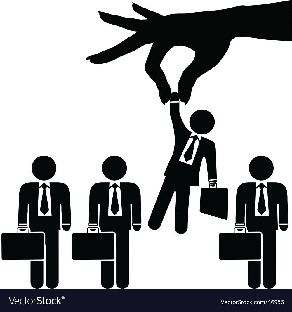 Woman hand picks business man vector | Price: 1 Credit (USD $1)
