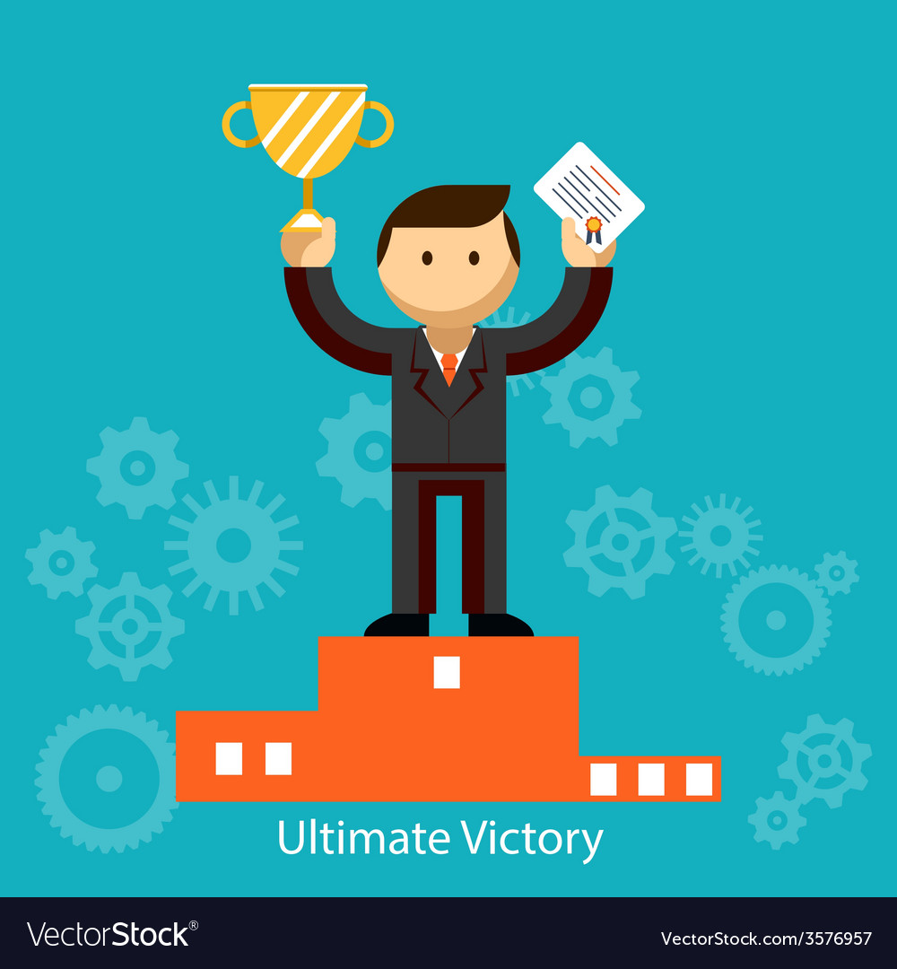 Businessman winner with certificate and trophy vector | Price: 1 Credit (USD $1)