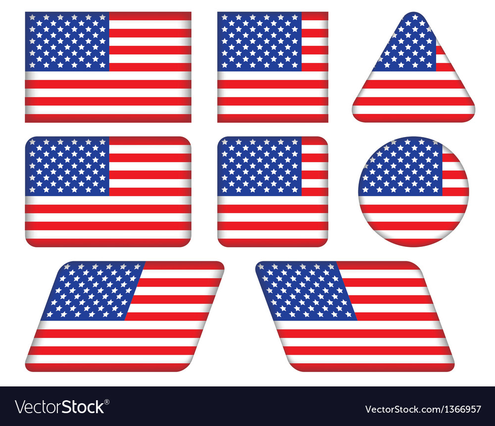 Buttons with united states flag vector | Price: 1 Credit (USD $1)