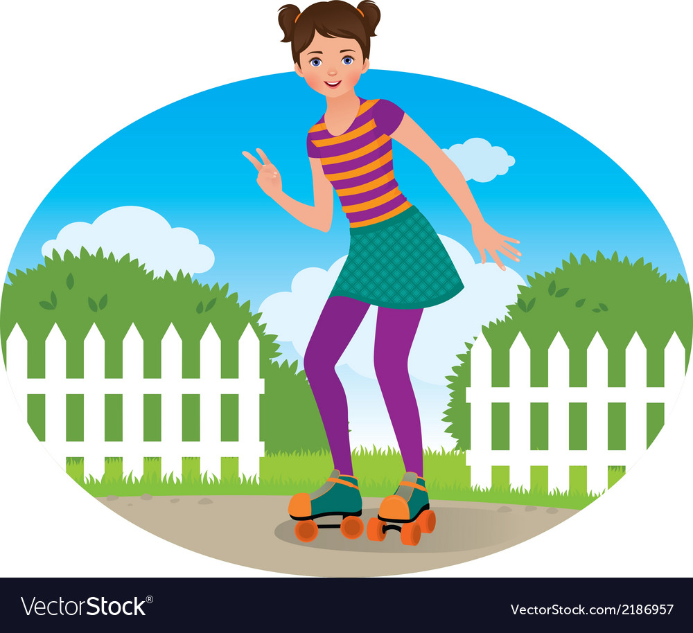 Girl on roller skates vector | Price: 1 Credit (USD $1)