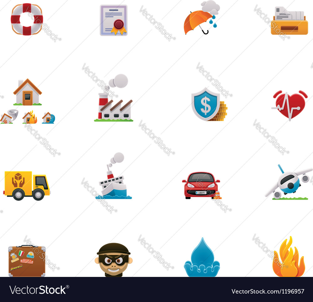 Insurance icon set vector | Price: 3 Credit (USD $3)