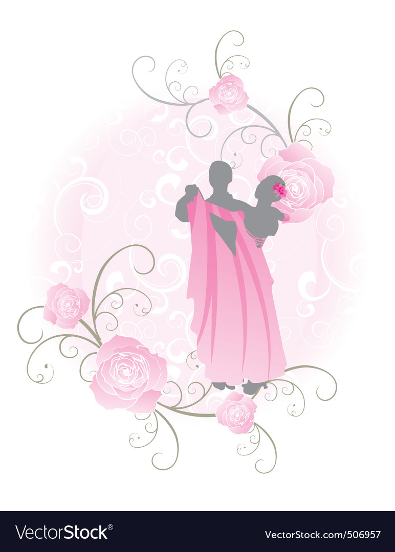 Pink roses dance vector | Price: 1 Credit (USD $1)