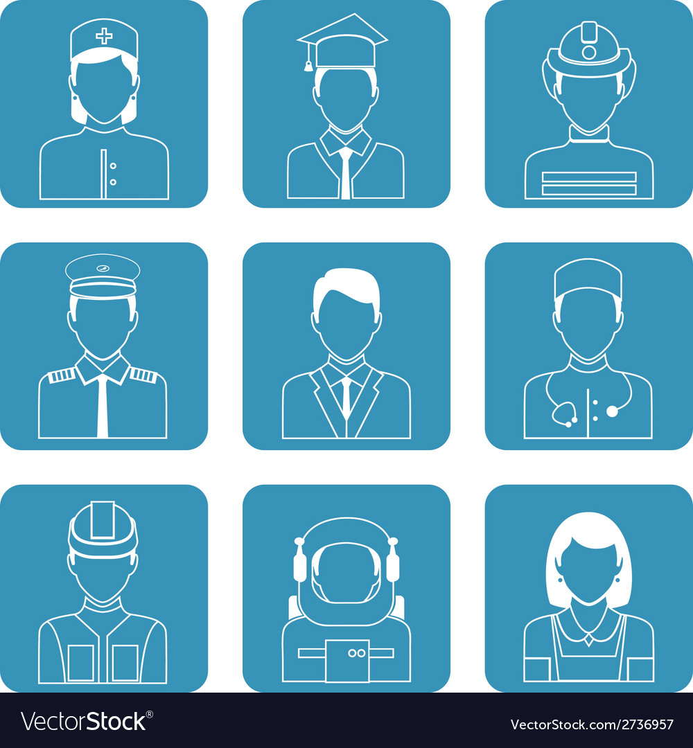 Professional avatar icons set vector | Price: 1 Credit (USD $1)