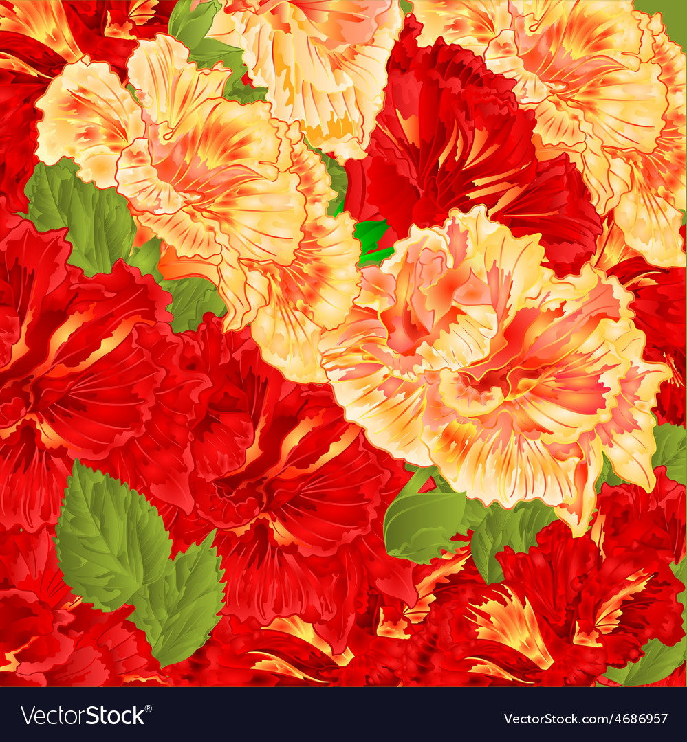 Red and yellow flowering shrub floral background vector | Price: 1 Credit (USD $1)