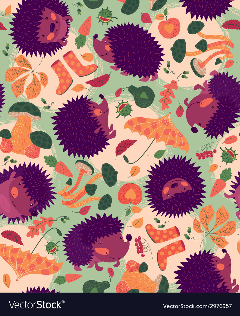 Seamless pattern with hedgehogs and autumn leaves vector | Price: 1 Credit (USD $1)