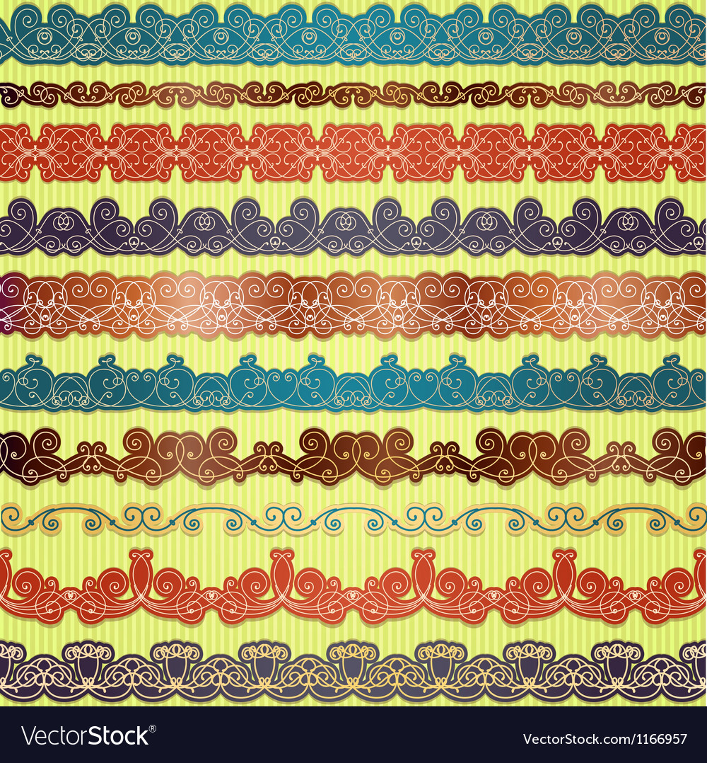 Set of seamless borders for scrapbooking vector | Price: 1 Credit (USD $1)