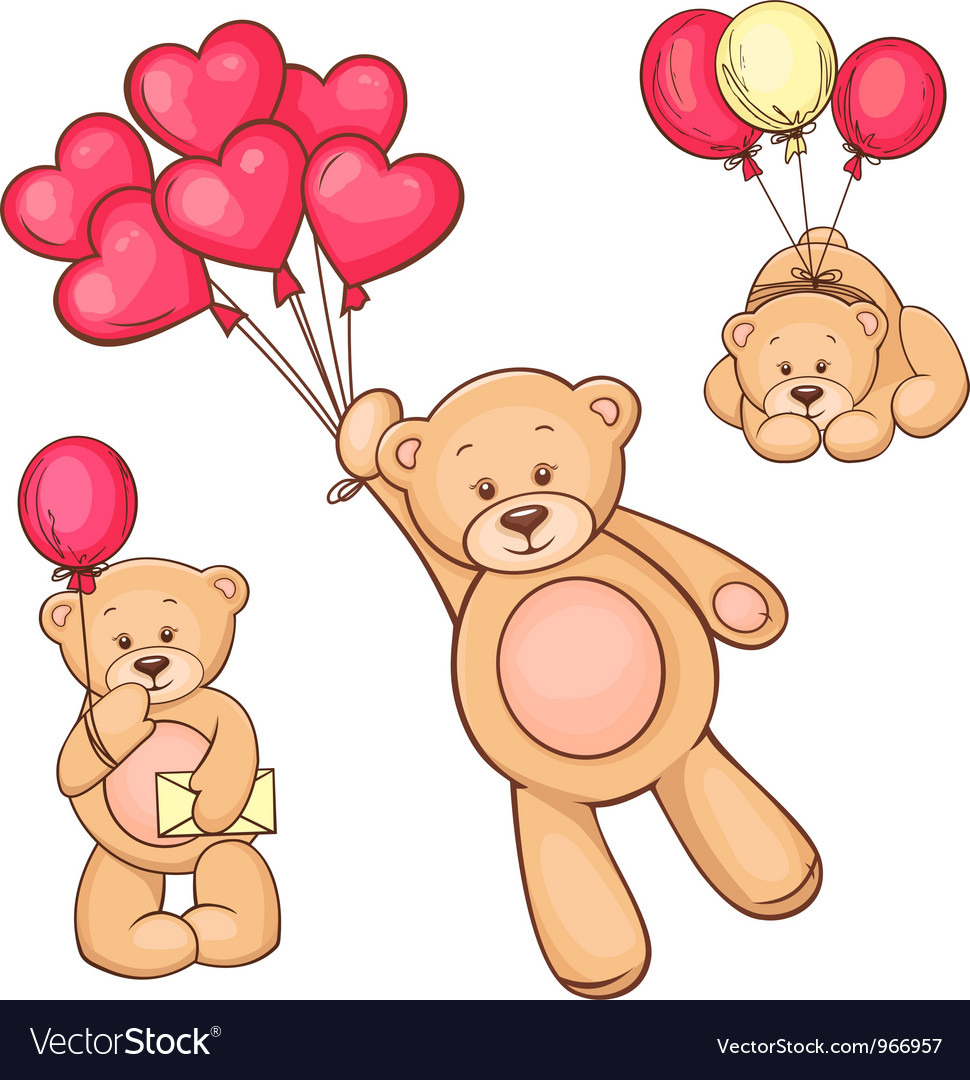 Set of teddy bear and balloons vector | Price: 3 Credit (USD $3)
