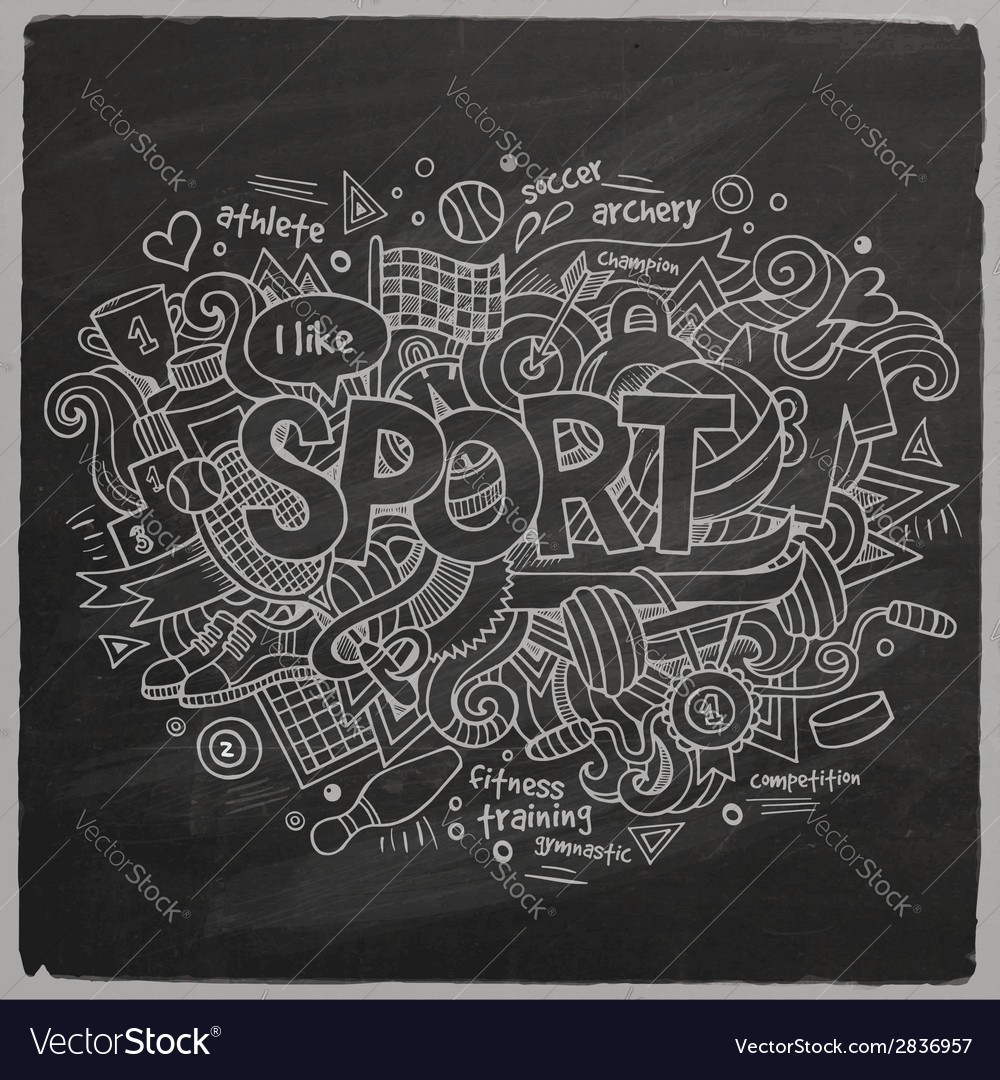 Sport hand lettering and doodles elements vector | Price: 1 Credit (USD $1)
