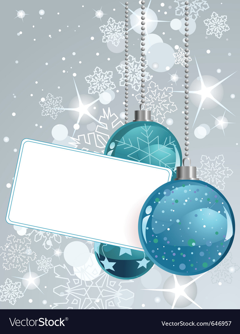 White blank label with christmas balls vector | Price: 1 Credit (USD $1)