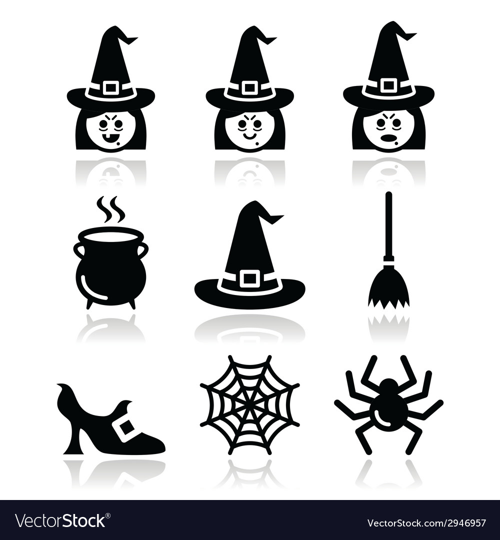 Witch halloween icons set vector | Price: 1 Credit (USD $1)