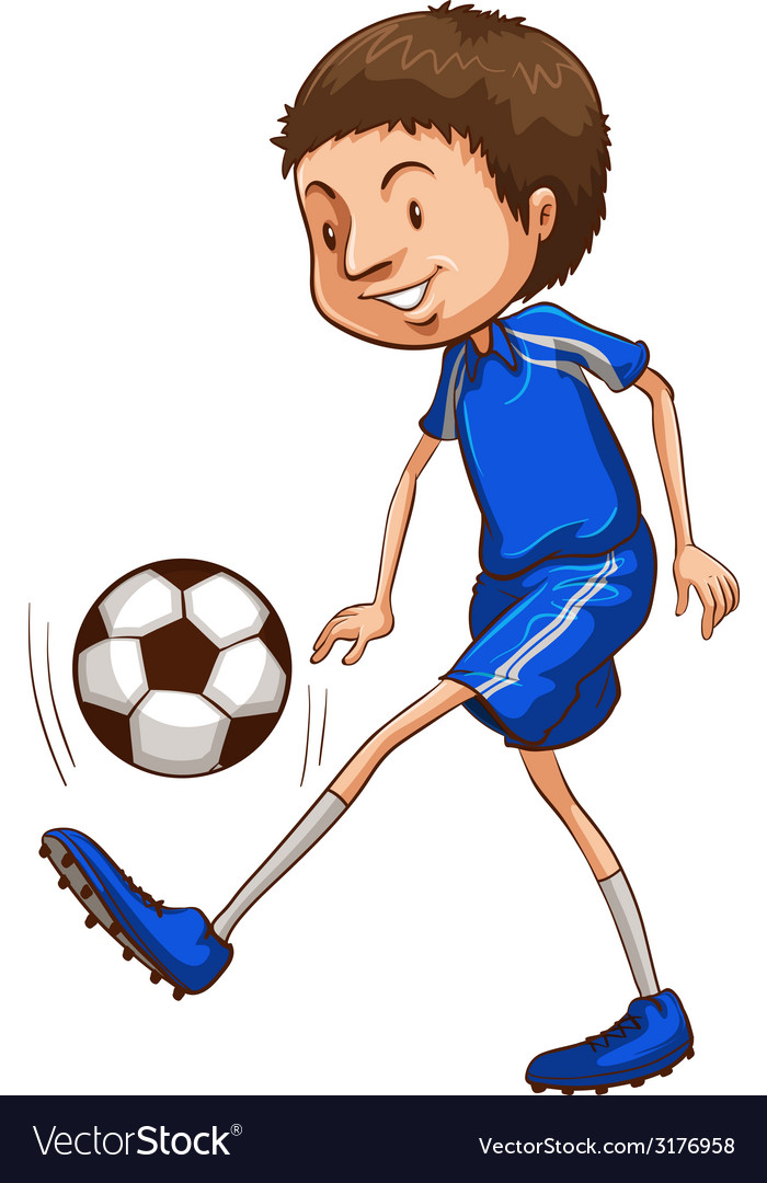 A soccer player wearing a blue uniform vector | Price: 1 Credit (USD $1)