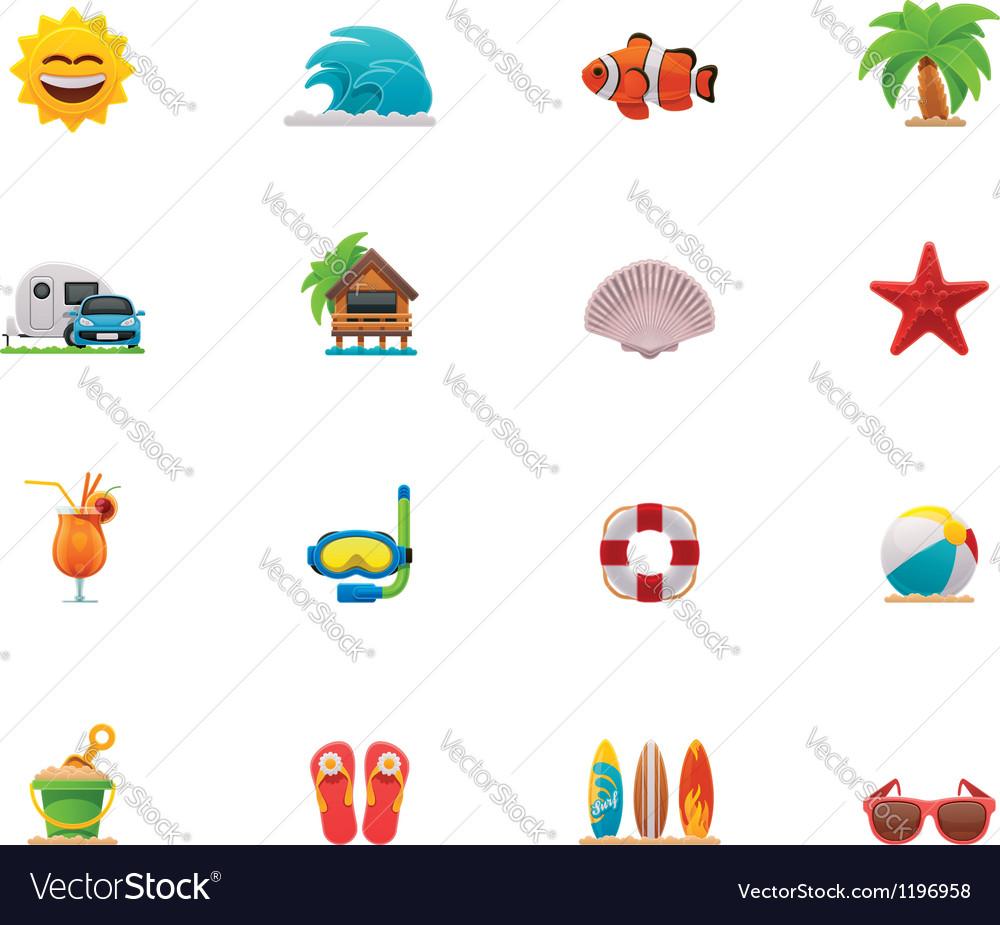 Beach icon set vector | Price: 3 Credit (USD $3)