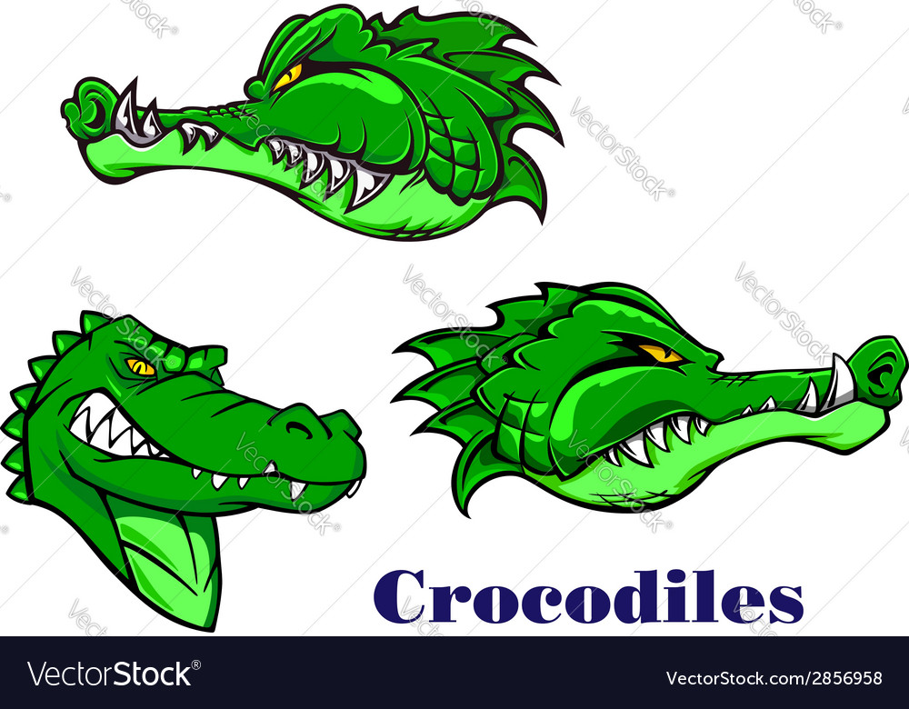 Cartoon crocodile and alligators characters vector | Price: 1 Credit (USD $1)