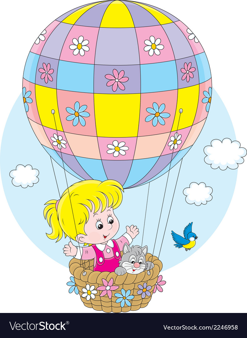 Child flying on a balloon vector | Price: 1 Credit (USD $1)