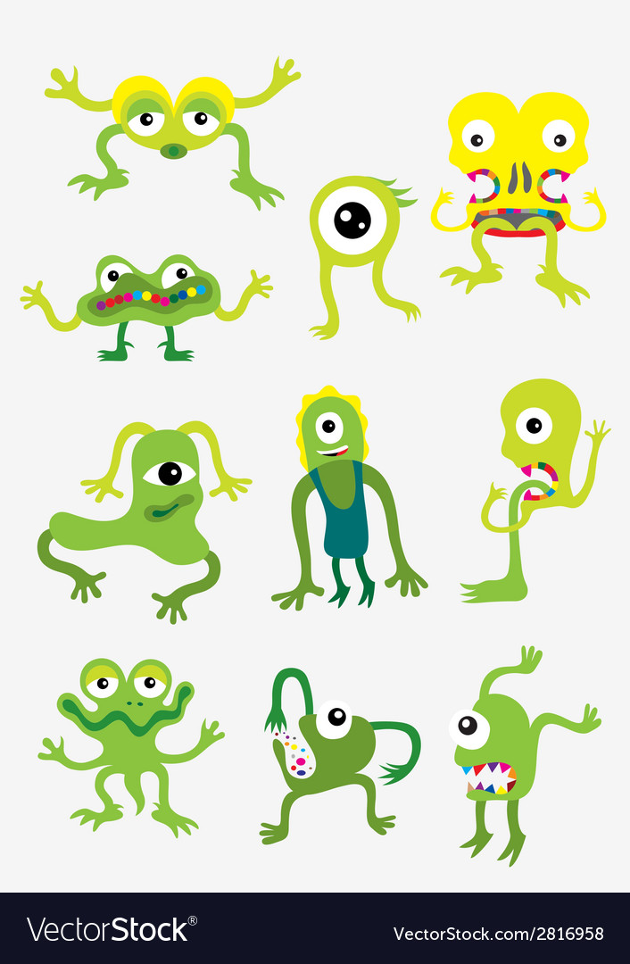 Green monster set vector | Price: 1 Credit (USD $1)