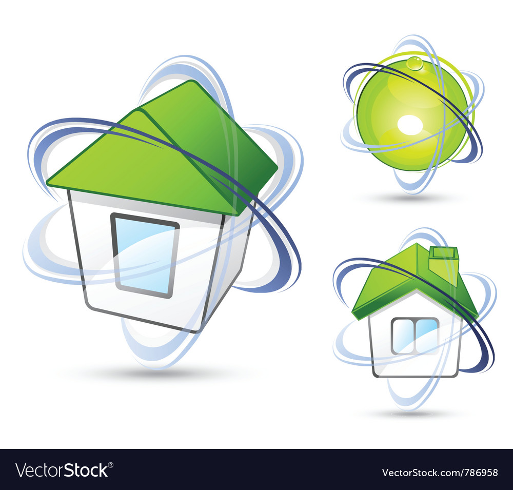 Houses with orbit rings vector | Price: 3 Credit (USD $3)