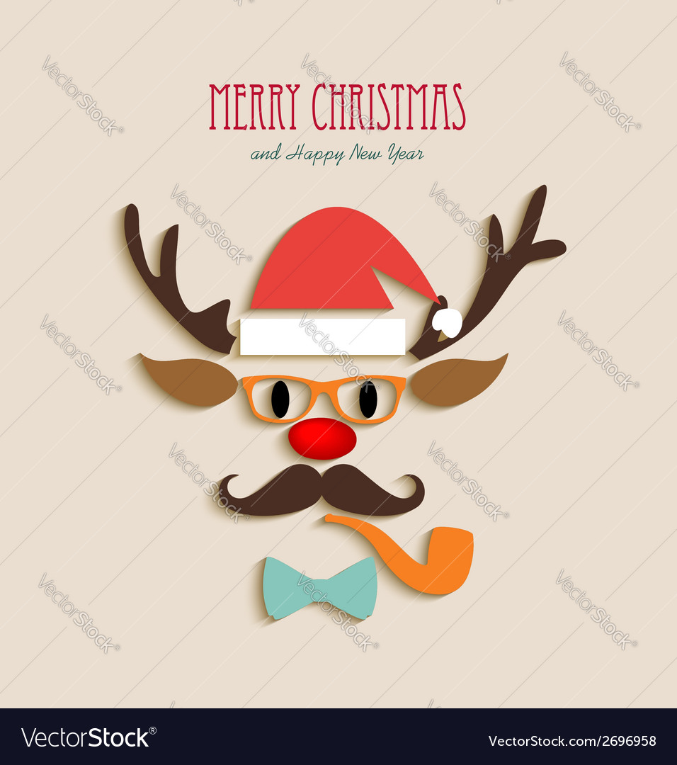Merry christmas reindeer cartoon vector | Price: 1 Credit (USD $1)