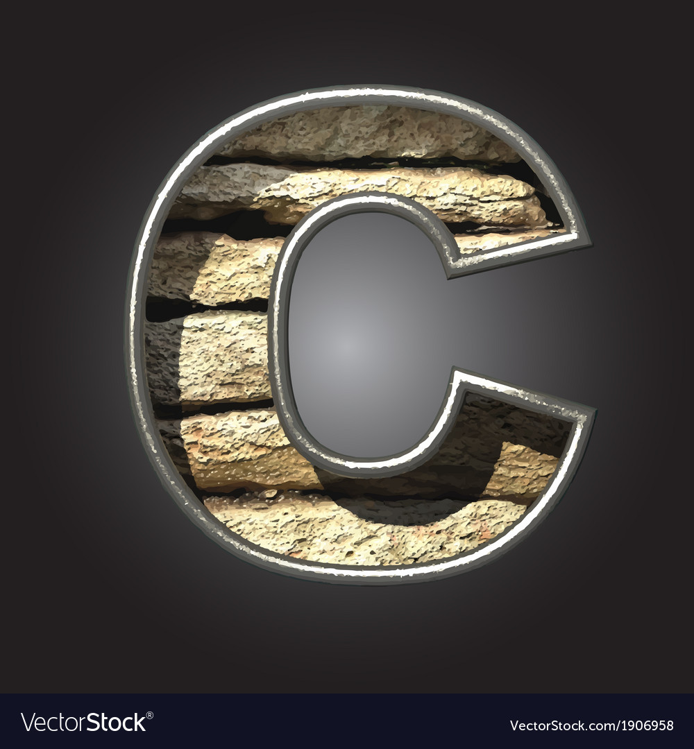 Old stone letter c vector | Price: 1 Credit (USD $1)