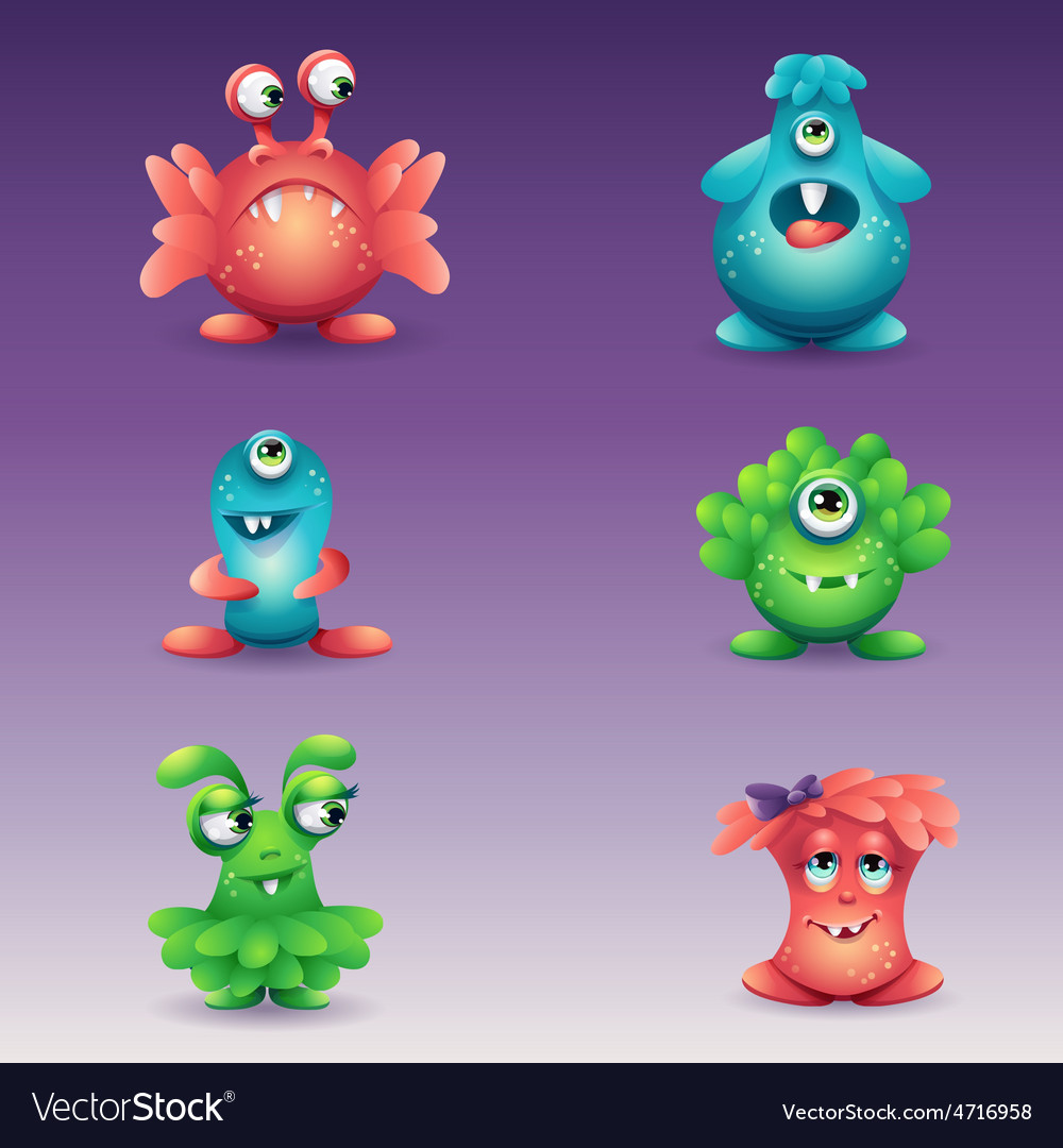 Set of colored cartoon monsters different vector   Price: 3 Credit (USD $3)