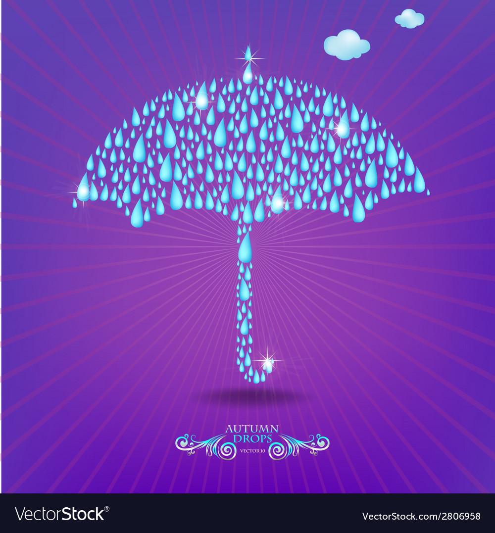 Umbrella with drops vector | Price: 1 Credit (USD $1)