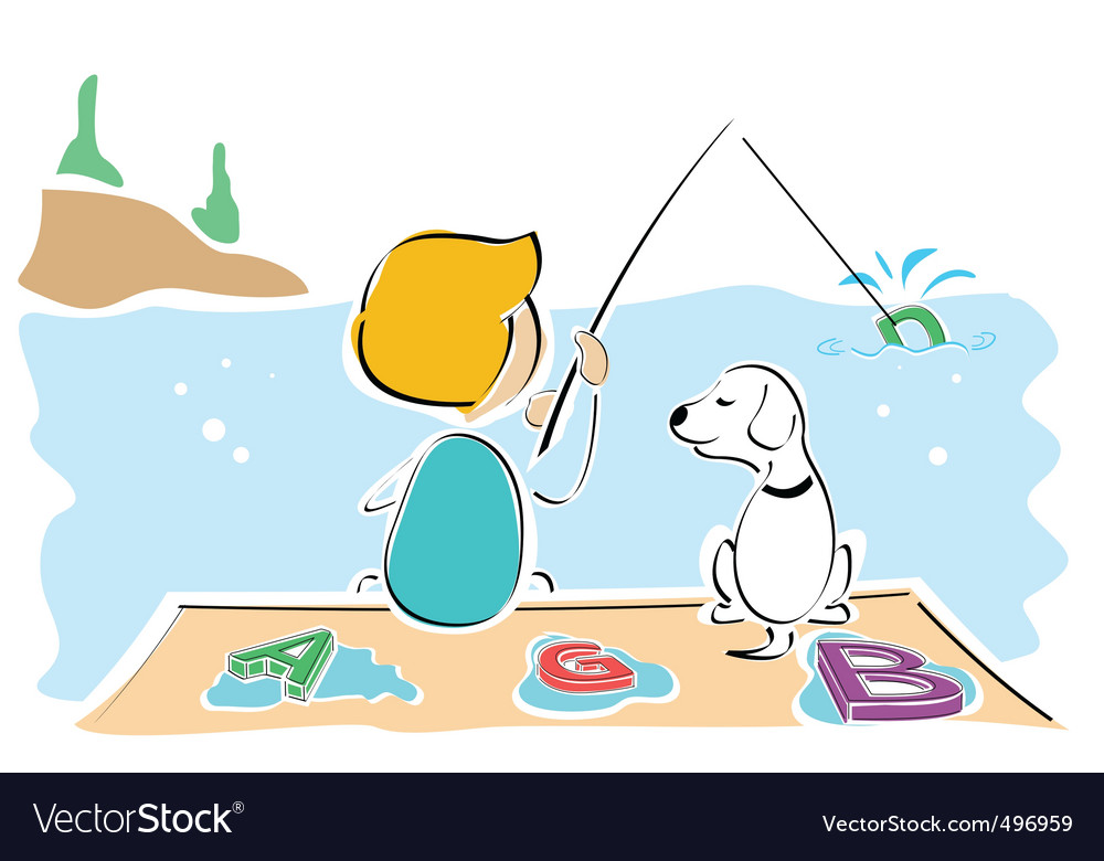 Boy and dog catching text vector | Price: 1 Credit (USD $1)