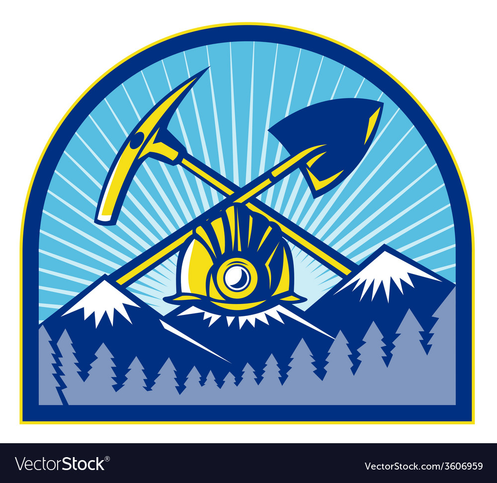 Coal miner hardhat pick axe shovel retro vector | Price: 1 Credit (USD $1)