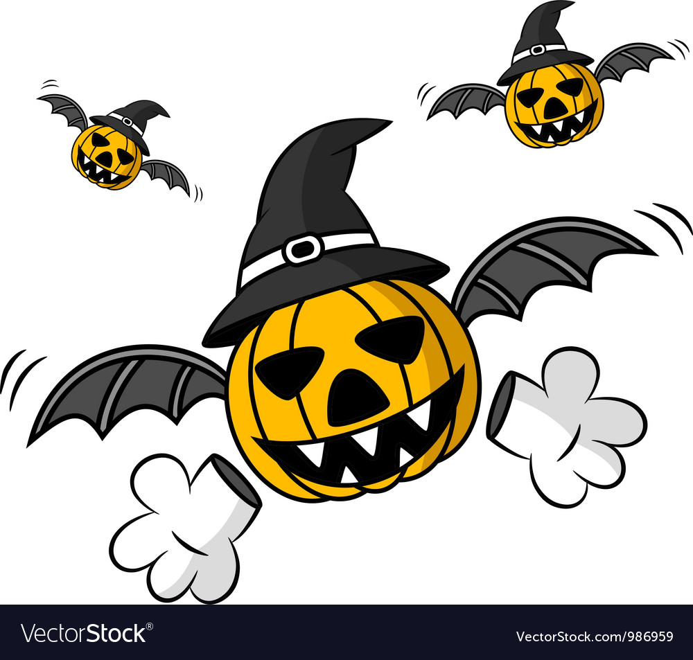 Creepy flying halloween pumpkin vector | Price: 1 Credit (USD $1)