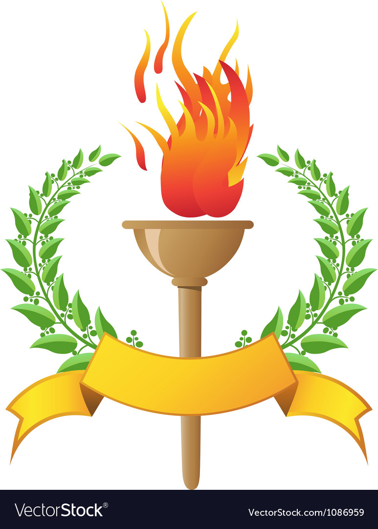 Flame torch with banner vector | Price: 1 Credit (USD $1)