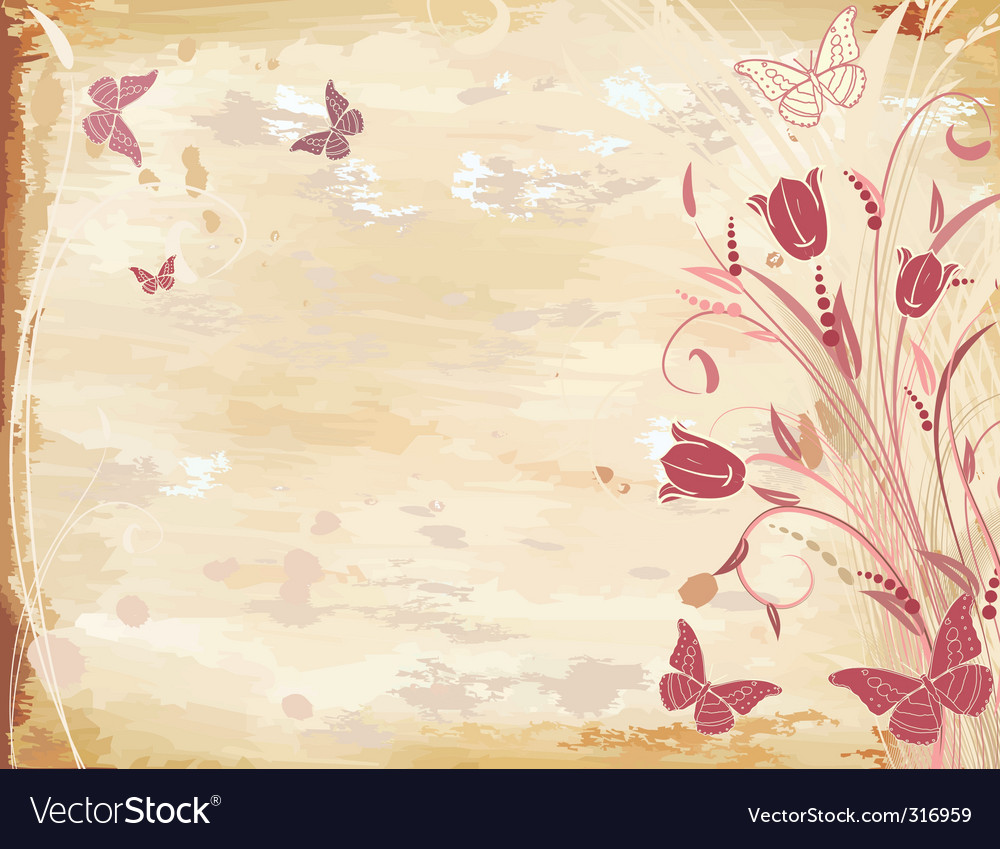 Old paper with tulips vector | Price: 1 Credit (USD $1)