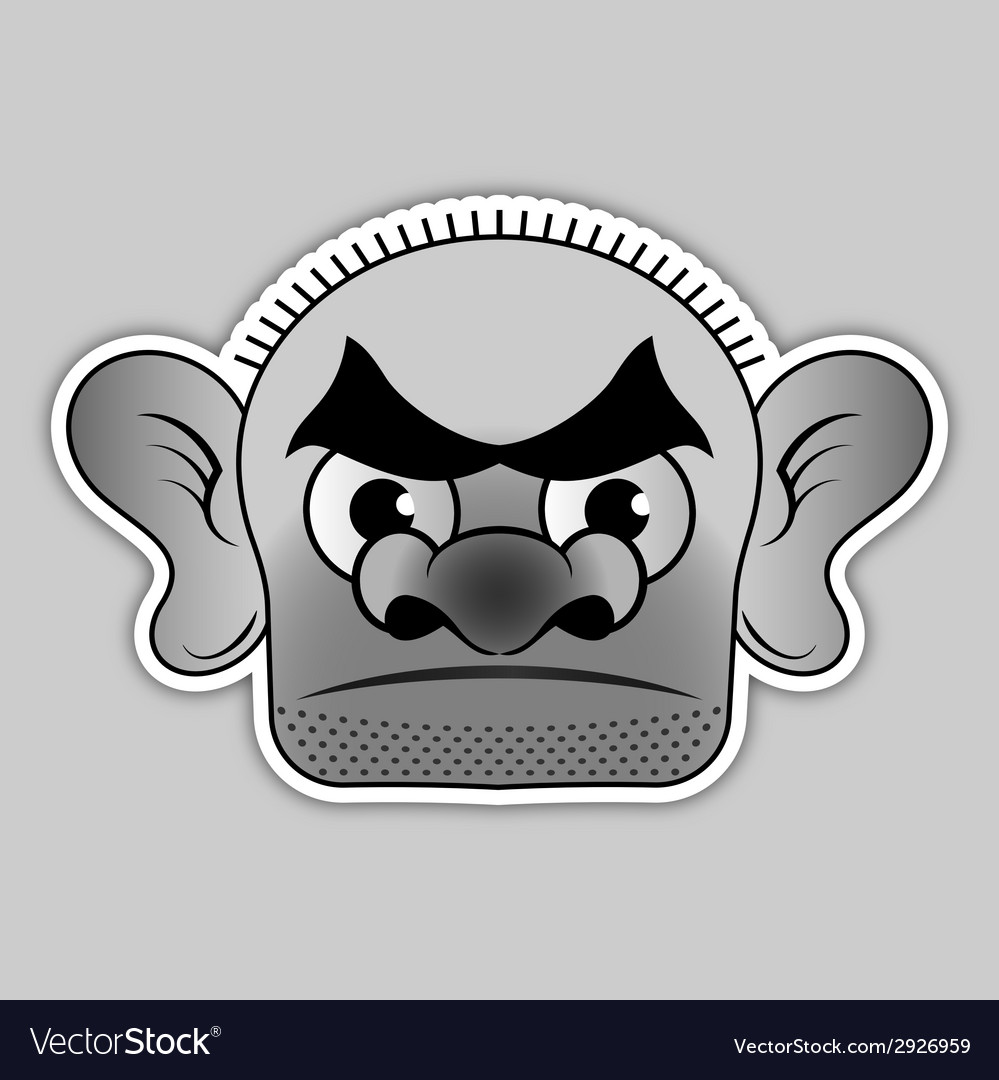 Sticker - bald villain with a broad black eyebrows vector | Price: 1 Credit (USD $1)