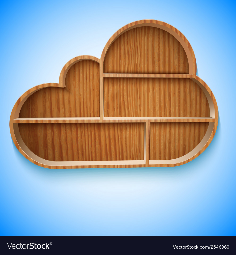 Cloud wood shelves and shelf design on wall vector | Price: 1 Credit (USD $1)
