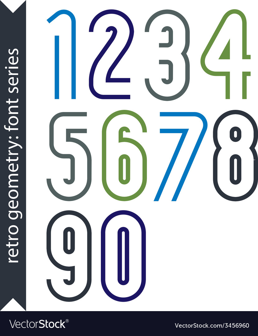 Colorful delicate retro numbers set light classic vector | Price: 1 Credit (USD $1)