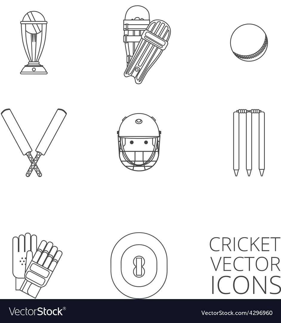 Cricket icons set black outline vector | Price: 1 Credit (USD $1)