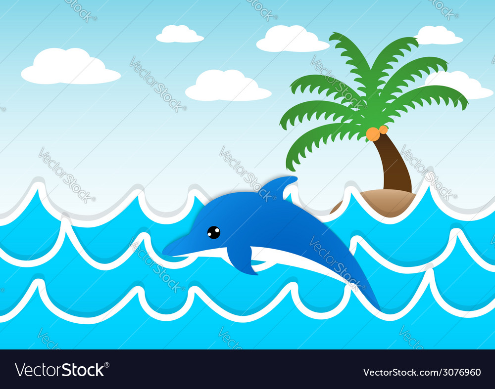 Dolphin jumping in the sea vector | Price: 1 Credit (USD $1)