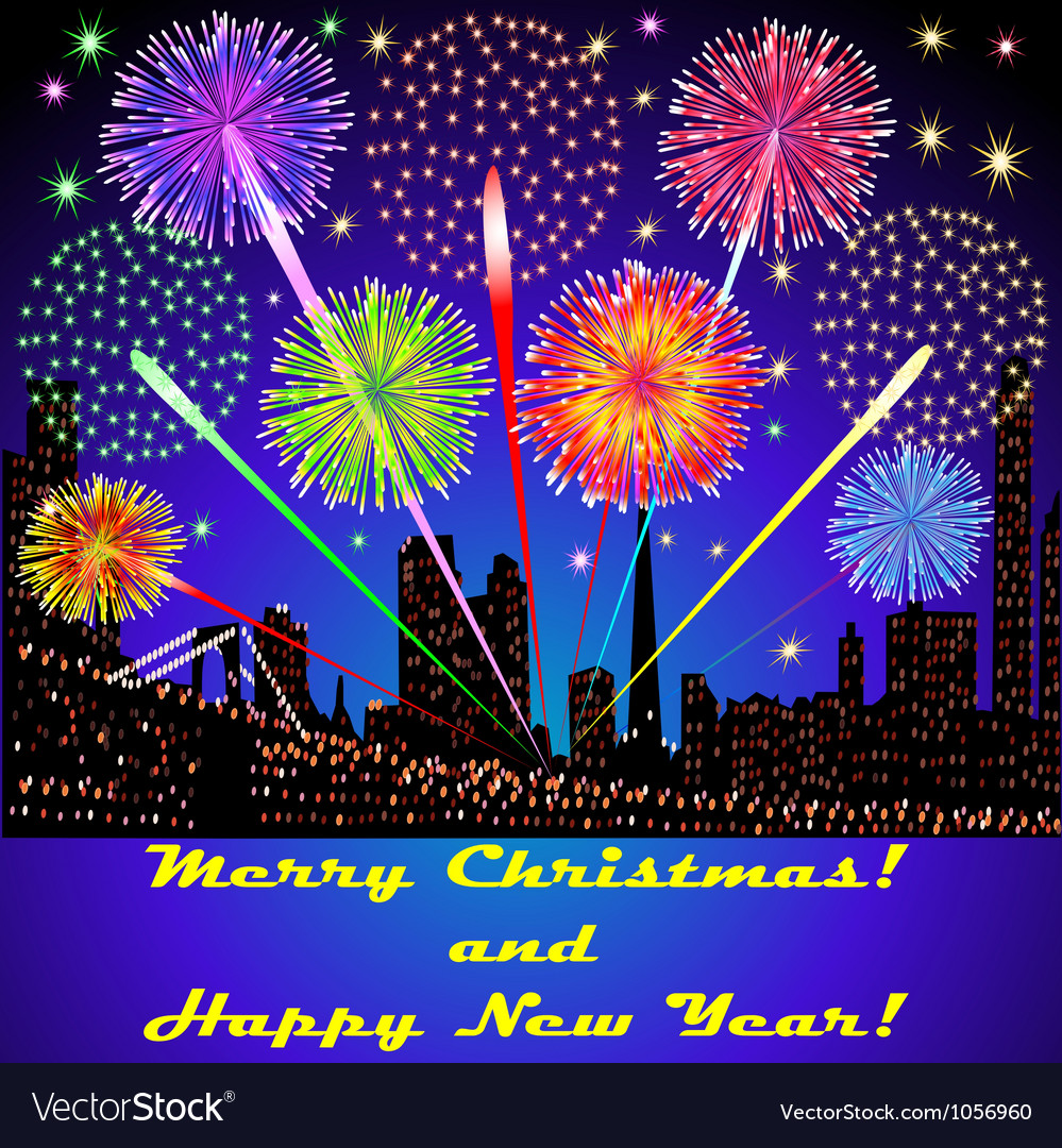 Festive fireworks outside above the buildings vector | Price: 1 Credit (USD $1)