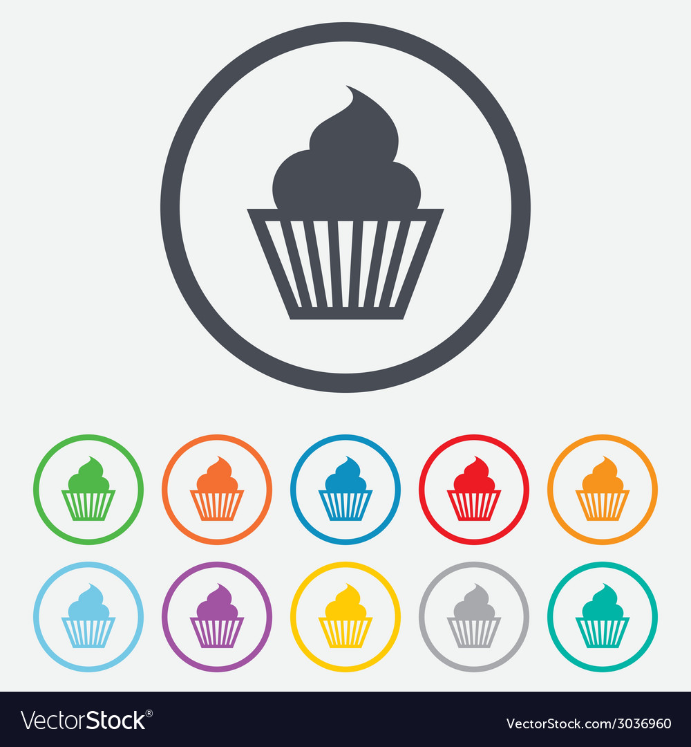 Muffin sign icon cupcake symbol vector | Price: 1 Credit (USD $1)