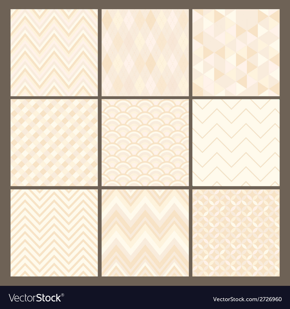 Seamless white geometric hipster background set vector | Price: 1 Credit (USD $1)