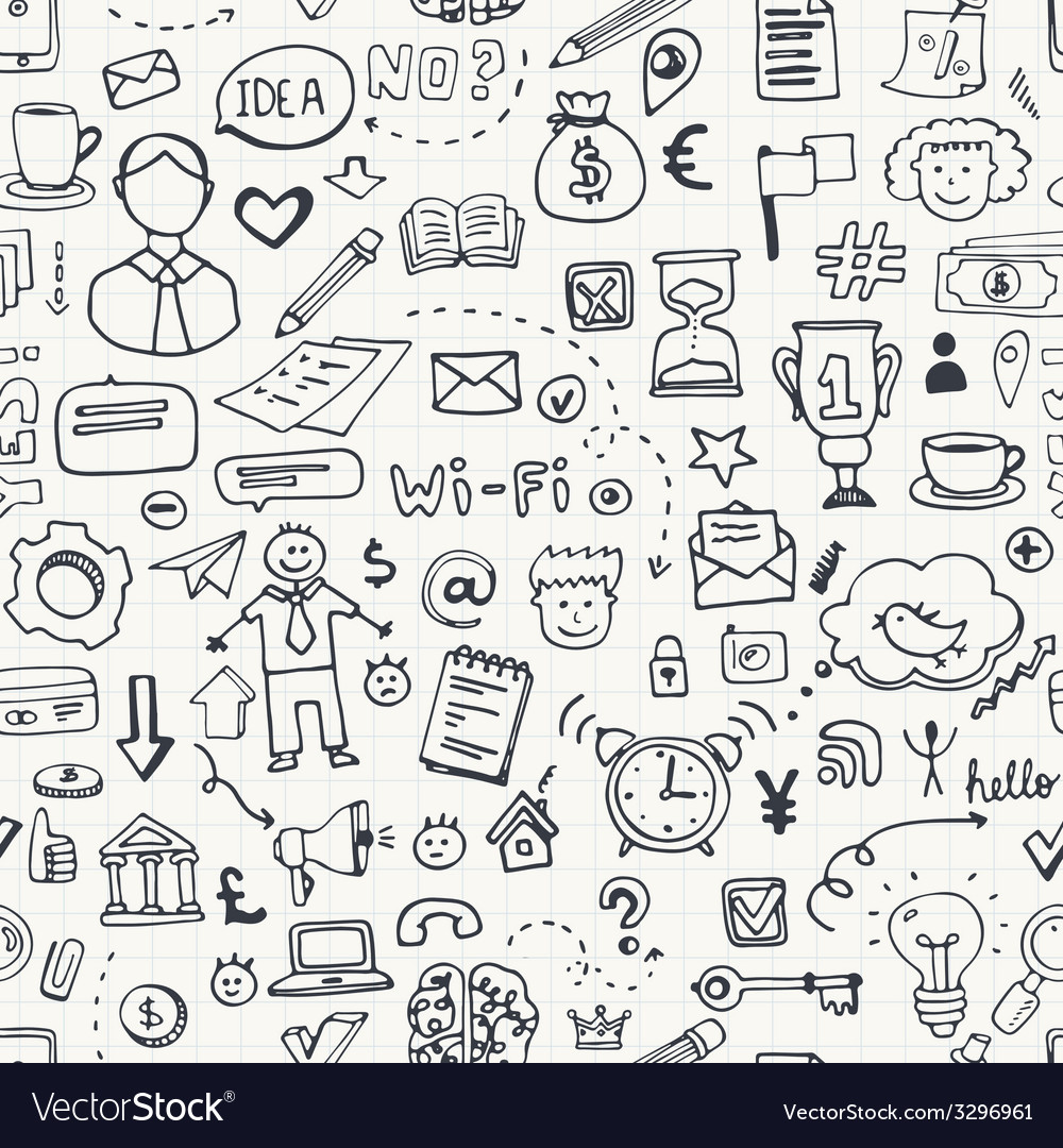 Business doodle seamless vector | Price: 1 Credit (USD $1)