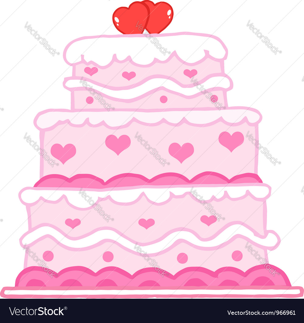 Cake with two red hearts vector | Price: 1 Credit (USD $1)