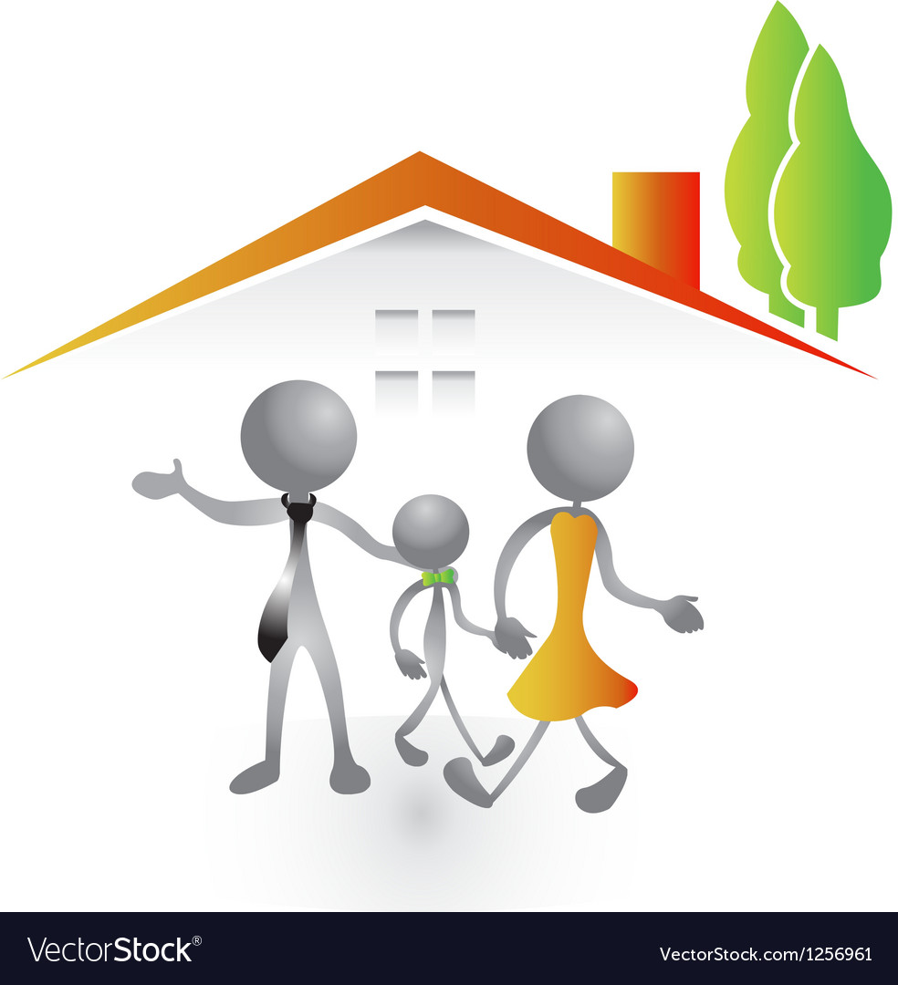Family in a new house vector | Price: 1 Credit (USD $1)