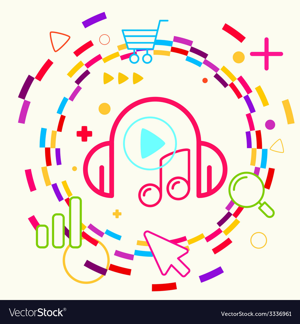 Headphones and note on abstract colorful geometric vector | Price: 3 Credit (USD $3)