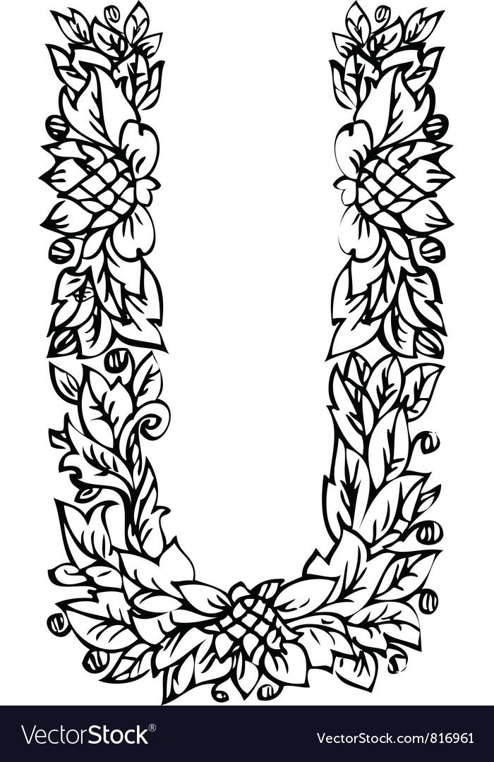 Letters floral u vector | Price: 1 Credit (USD $1)
