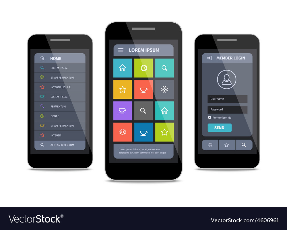 Mobile ui design with login vector | Price: 1 Credit (USD $1)