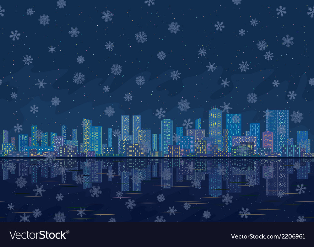Night city landscape with snowflakes seamless vector | Price: 1 Credit (USD $1)