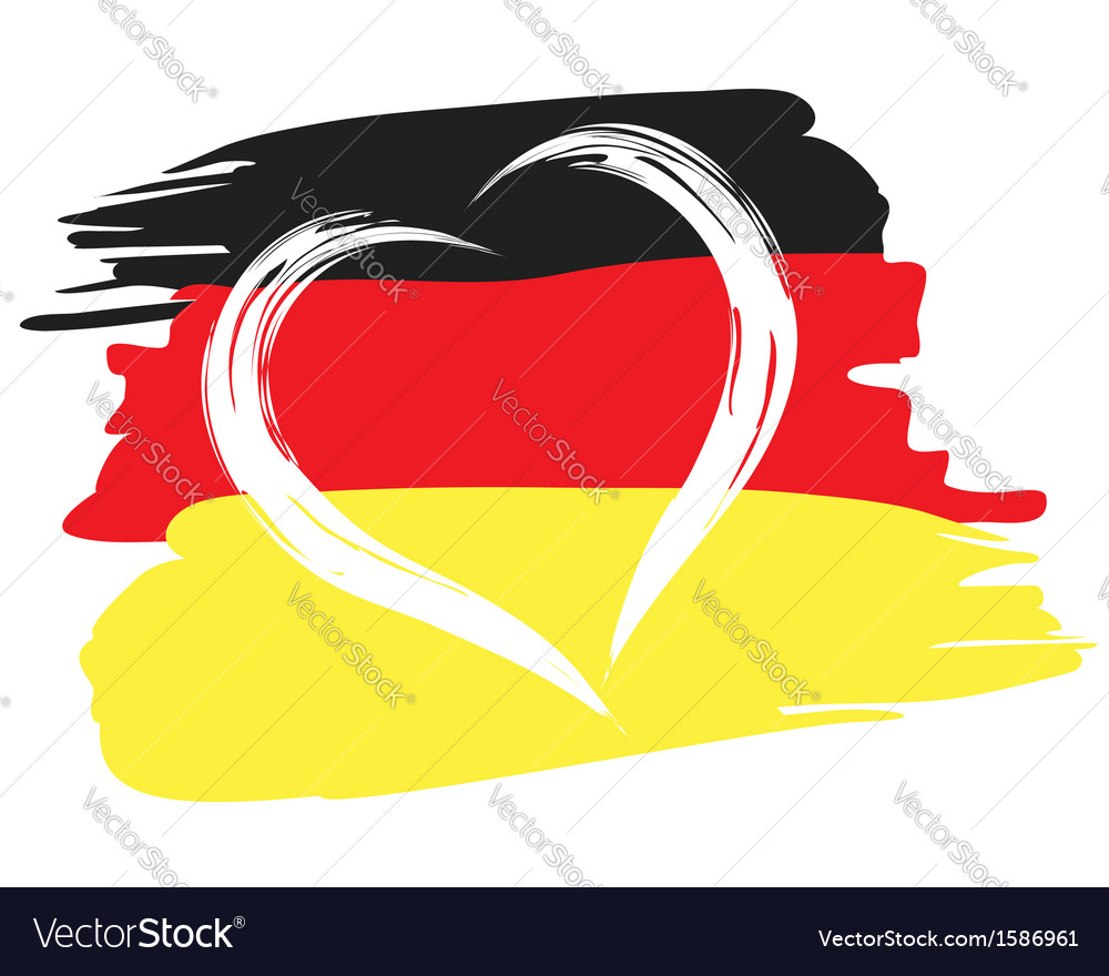 Painted german flag with heart shape symbol vector | Price: 1 Credit (USD $1)