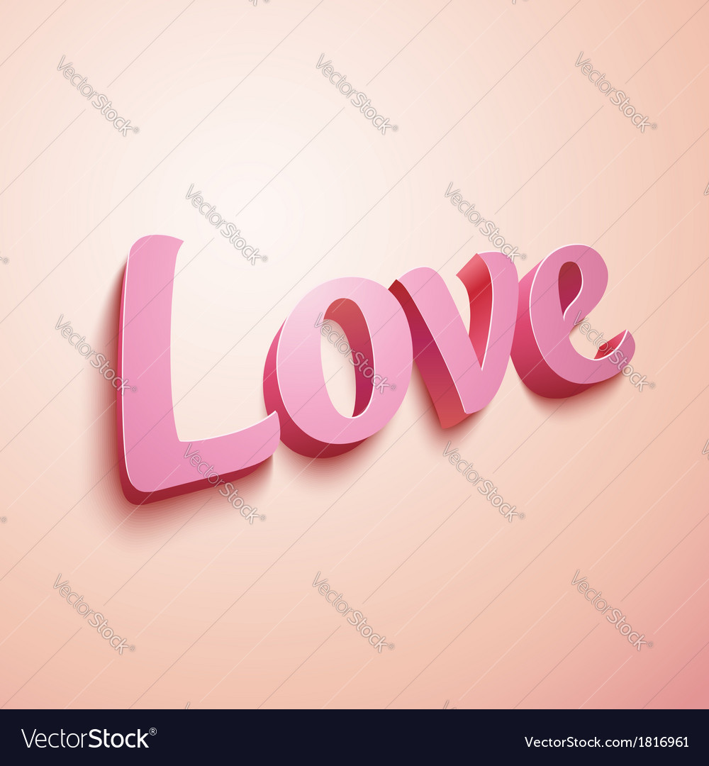 Pink realistic plastic love sign vector | Price: 1 Credit (USD $1)